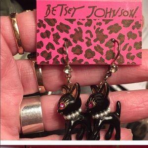 NWT Betsey Johnson BLACK KITTY EARRINGS!